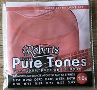 Five sets of Roberts Pure Tones Acoustic Guitar Strings. 10-43