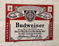 Budweiser Bière Grande Rétro en Métal Aluminium Signe Vintage Pub Bar Bière Signes Grotte