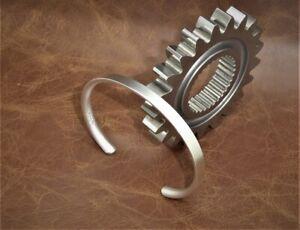 "Men's Gents ""Matte Look"" Solid Sterling 925 Silver Open Bangle Torque Bracelet"