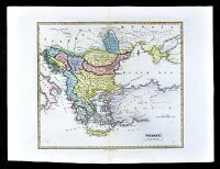 1839 Bell Map - Turkey in Europe - Balkans Greece Bulgaria Romania Bosnia Serbia