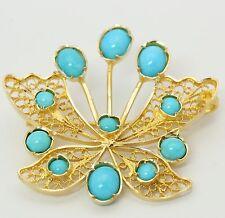 ♦♦ Brosche in aus 750 18kt Gelb Gold mit Türkis Türkisen Handarbeit Anstecknadel