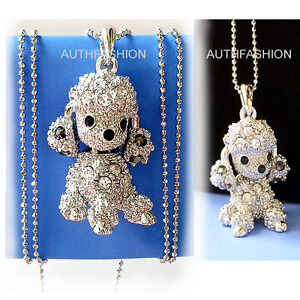 Puppy Dog Poodle Silver Color Kids Crystal Pendant Necklace Charm /Free Gift Box