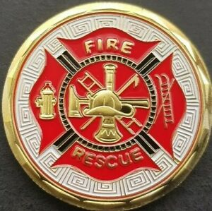 FIRE & RESCUE Thin Red Line Challenge Coin FREE COIN STAND AND BRAND NEW FITTED