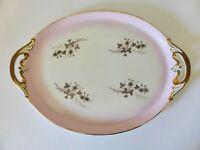 Antique C.T. Altwasser Serving Platter, Hand Finished Pink Floral Porcelain Tray