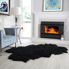 Black Mongolian Sheepskin Fur Area Floor Rug curly hair s 4 hide pelt quatro