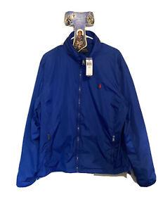 Authentic Polo Ralph Lauren Track Jacket Hoddie Zip Up Metallic Blue XL/TG