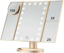 Makeup Mirror Gold Lighted Vanity 21 LED Touch Screen Folding 3X/2X/1X Travel