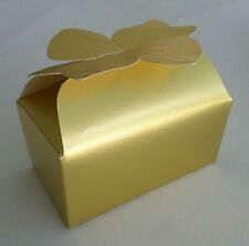 Lot of 25 Gold Folding Bow Boxes for Candy, Party, Wedding Favors