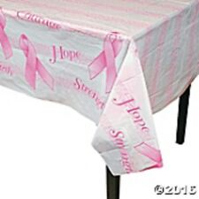 "1 PINK RIBBON Breast Cancer Awareness Plastic PINK RIBBON Table Cover 54"" x 72"""