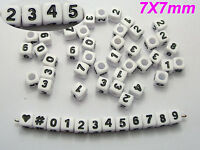 """200 White with Black Assorted Number """"#"""" Acrylic Cube Pony Beads 7X7mm"""