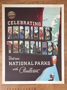 "Pendleton Woolen Mills Advertising Store Display Poster 22"" x 28"" National Parks"