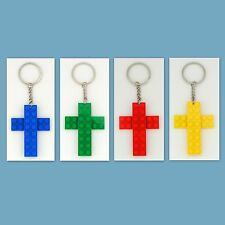 Lot of 4 - 48 Key Chain with Custom LEGO Cross Pendant,  Party Favor, Game Prize