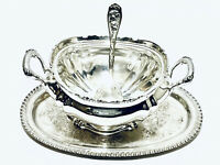 Magnificent Antique Reed & Barton sauce bowl with Tray and spoon silver plated