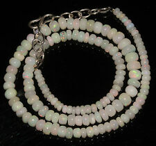 """68 Carat Natural Ethiopian Welo Fire Opal Genuine Necklace 3 to 6.5 mm 16"""" Beads"""