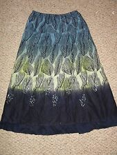 NEW PECK & PECK BEACH GLASS BLUE GREEN FEATHER PRINT SKIRT WITH SEQUINS - SMALL