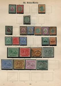 ST.KITTS & NEVIS: Used & Unused - Ex-Old Time Collection - Album Page (41016)