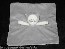 Doudou carré plat Chat gris et blanc Obaïdi Okaïdi