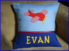 CHILD'S/BOY'S PERSONALISED NAME CUSHION COVER /NURSERY/SHOWER/GIFT/ - PLANE -