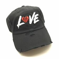 Black Distressed Love & Basketball Dad Cap Hat