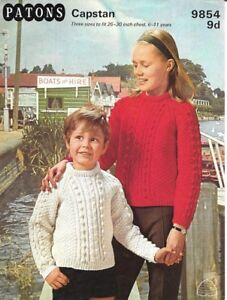 "Vintage Patons Knitting Pattern Children's  Aran Jumpers 26-30"""