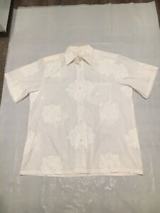 Vintage Men's Mamo Howell Floral White On White Hawaiian Shirt Size XL