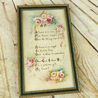 "vtg "" A Friend"" Poem framed flowers pretty shabby chc 9.5"" x 6"""