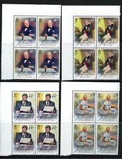 Churchill Kennedy Gandhi Nelson Europa 4 mnh stamps Gibraltar 1998 Margin Blocks