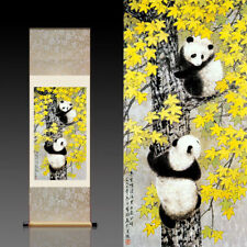 Chinese Silk Scroll Painting Lovely Panda Home Office Decoration (国宝熊猫)