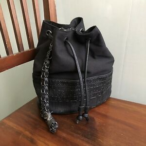 New ZADIG & VOLTAIRE Black Bucket Bag Canvas Faux Leather Embossed Chain Strap