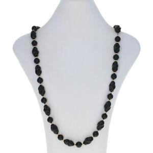 "Gold Toned Black Onyx Necklace 26"" - Beaded Strand Women's"