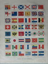 1899 Victorien Imprimé ~ Drapeaux de Tout Nations Burma Turquie Suède Japon