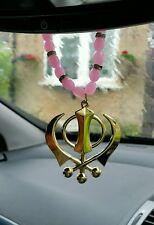Gold Plated Punjabi Sikh Singh Large Khanda Pendant Car Hanging Baby Pink Beads