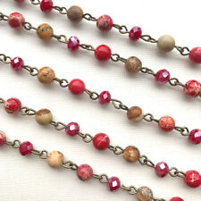 Red Crystal Jasper Stone Beaded Rosary Antique Brass Eyepin Chain 6mm 2 ft 66385