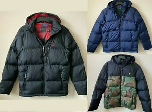Polo Ralph Lauren Hooded Down Jacket With Sherpa Lined Hood