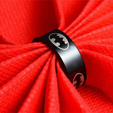 FPunk Style Boys Men Black Batman Symbol Stainless Steel Polished Ring 3 Colors