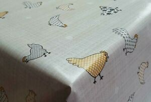 Country Farm Chickens Yellow Ochre Grey Hearts PVC Plastic Oil Vinyl Table Cloth