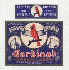 """Beer label - Canada - """"Cardinal Cream Lager"""" - Gold Belt Brg. - Timmins, Ontario"""