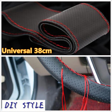 PU Leather Car Steering Wheel Cover With Red Needles Thread DIY Soft 38cm/15inch