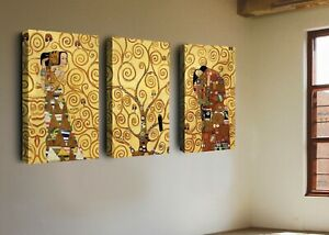 Fine Art Print Repro on Canvas,Gustav Klimt-Tree of Life Wall Art Deco Painting