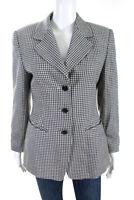 Escada Margaretha Ley Womens Button Up Blazer Jacket Black White Size EUR 38