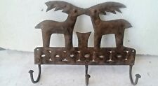 old vintage Rustic iron tin  hand catting three Hook