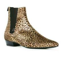 2020 Mens Suede Leopard Shoes High Top Retro Oxfords Ankle Chelsea Boots Fashion