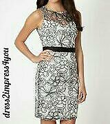 BNWOT LIPSY VIP WHITE EMBROIDERED SHEER FLORAL OVERLAY PENCIL DRESS SIZE 12 £95
