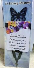 "BNIP "" SPECIAL GRANDMA "" Memorial Laminated Card With Butterfly Stake Holder"