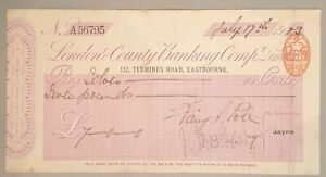 London & County Banking Company Ltd cheque, Eastbourne, CHQ No. A56795