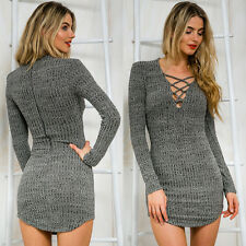 Women Lace Up Long Sleeve V Neck Slim Sweater Jumper Knit Bodycon Mini Dress NEW