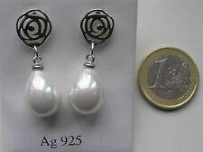 Pendientes perla nácar plata 925  MOTHER OF PEARL .925 STERLING SILVER EARRINGS