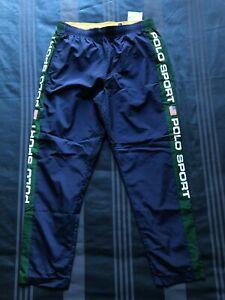 """Ralph Lauren Polo Sport MEDIUM Navy/Green """"OG Pull Up"""" Track Pant 100% Nylon"""