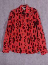 agnes b Homme Vintage Orange Psychedelic Mod Geometric Shirt Size 40
