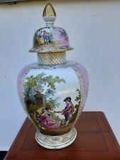 Antique German Meissen/Dresden huge vase and cover measuring 51cm high.